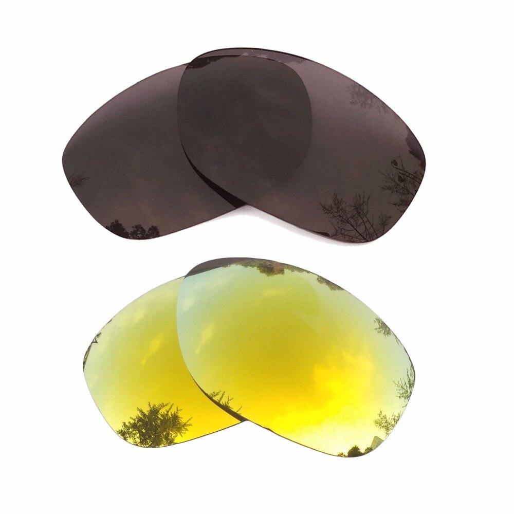 Черный и 24 К Золотые Зеркальные Поляризованные замены линзы для Pit Bull кадра 100% UVA и UVB