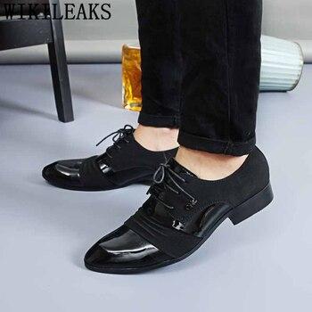 11f07bf9 Zapatos de vestir negros de clase para Hombre Zapatos formales de charol  zapatos de diseñador italiano oxford para hombres homme