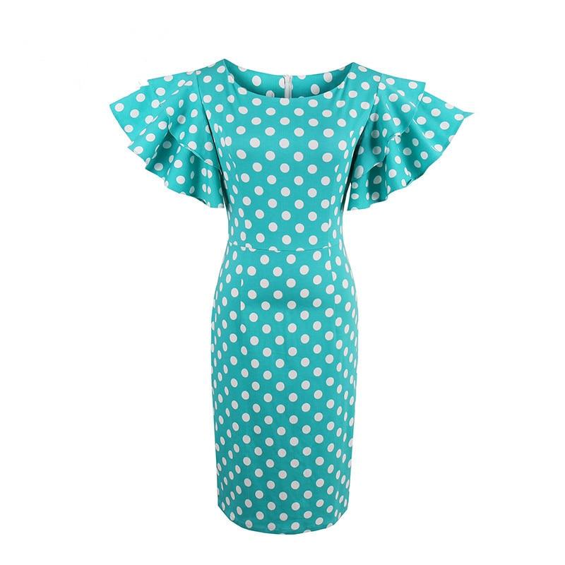 2017 Femmes Moulante Solide Robe Pétale Manches Vintage Bleu Robe femelle Gaine Pin Up Dot Robe À Volants Manches Vert Gaine robes