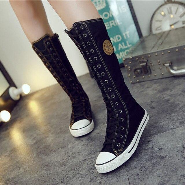 Manresar 2016 Nueva Moda 7 Colores de Lona de Las Mujeres Botas de Encaje Zip rodilla Botas Altas de Las Mujeres Botas Pisos Tall Casual Punk Shoes niñas