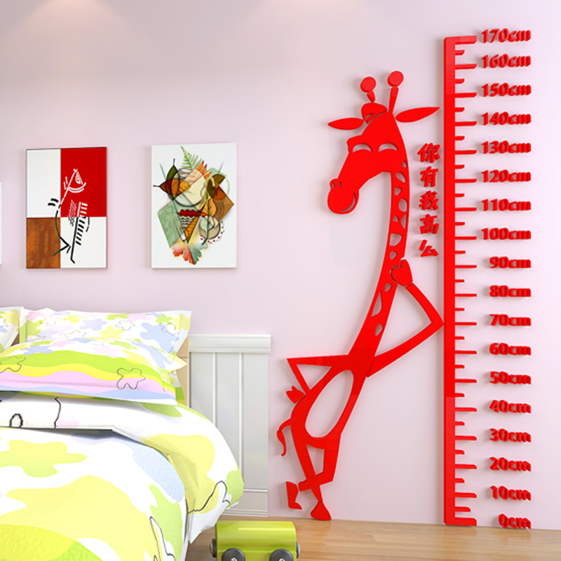 2016 New Creative Child Adult Cartoon 3D stereo Height stickers Diy Hand funny giraffe wall sticker Kids room Nursery Home decor