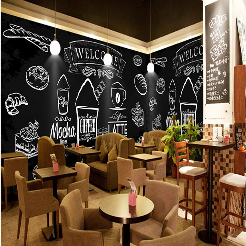 Free Shipping Hand painted chalk painted fried chicken burger wall western fast food shop coffee cafe wallpaper mural no frame canvas