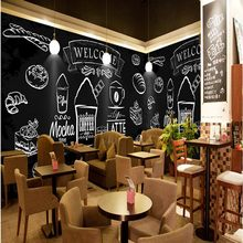 photo wallpaper Hand painted chalk painted fried chicken burger wall western fast food shop coffee cafe wallpaper mural(China)