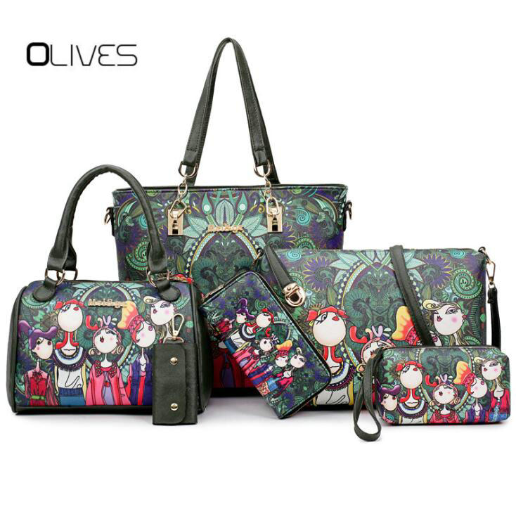 OLIVES 2018Women Handbag Leather Female Bag Fashion Cartoon Shoulder Bag High Quality 6-Piece Set Designer Brand Bolsa Feminina miwind 2017 new women handbag pu leather female bags fashion shoulder bag high quality 6 piece set designer brand bolsa feminina