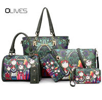 NEW Fashion Dark Green Forest Cartoon Image Printing Retro Shoulder Bag Women Leather Messenger Tote Bags