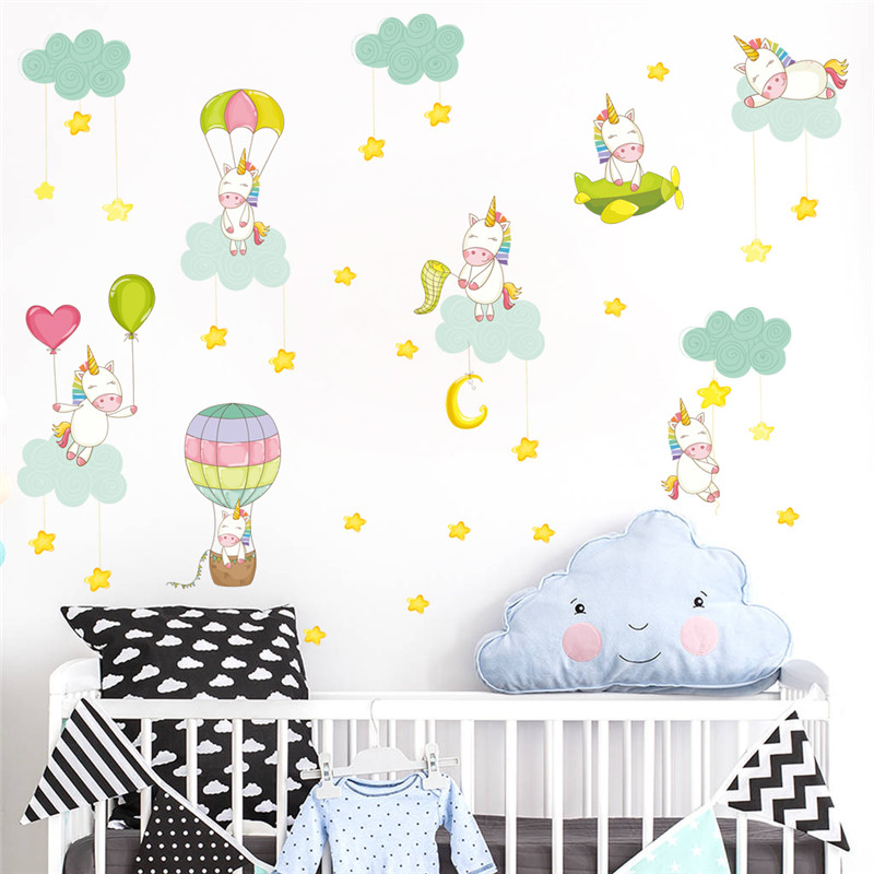 US $3.18 22% OFF|Cartoon Unicorn Moon Star Parachute Height Measure Wall  Stickers Kids Room Children Bedroom Nursery Wall Decal Poster Mural-in Wall  ...