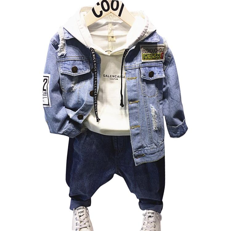 Autumn Spring letter baby boys hooded sweatshirt + denim jacket + jeans boys 3 pcs set kids suit for children 2 to 7 yrs boys letter print color block sweatshirt