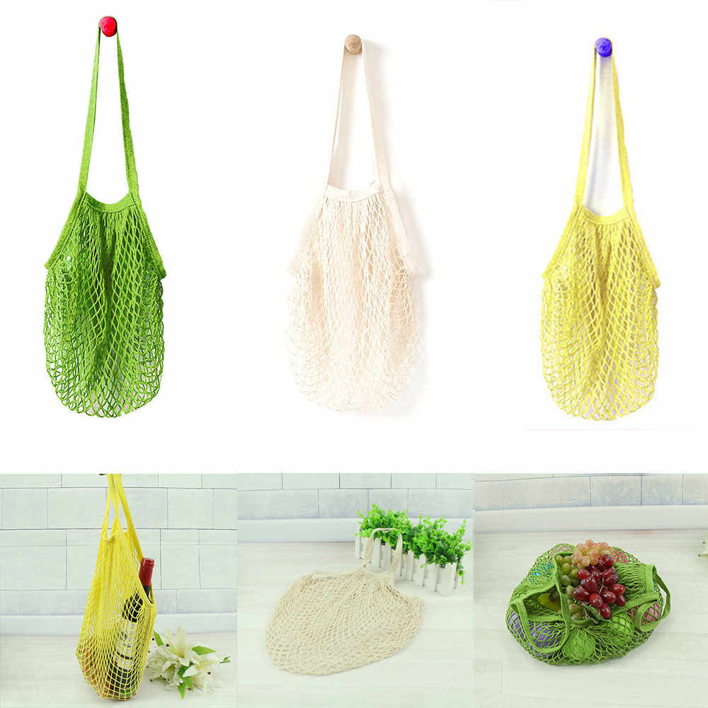 1PCS Mesh Net Reusable Fruit Storage Handbag Net cloth Shopping Bag Folding Eco Grocery Large Bag Women Shoulder Shopping Bags