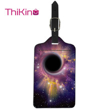 Thikin Galaxy Pattern Luggage Tag Women Travel Accessories PU Suitcase ID Address Holder Baggage Boarding Tag Portable Label skull pattern luggage bag tag fluorescence green
