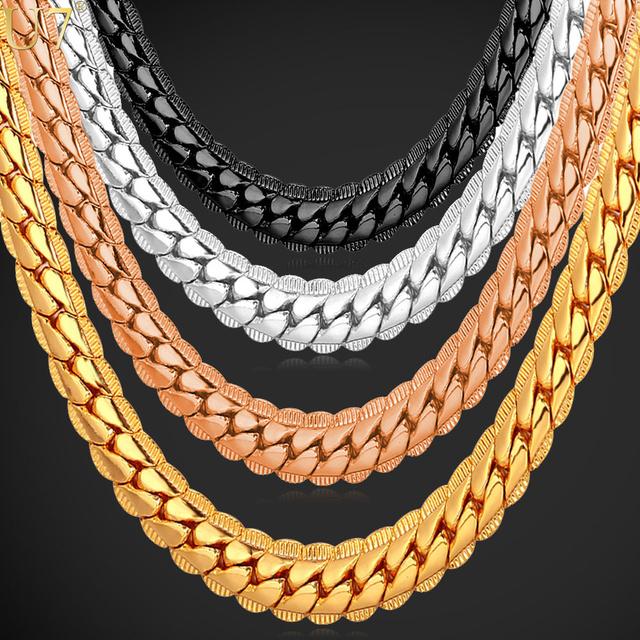Necklace Long/Choker Wholesale 6MM Vintage Punk Black Gun/Gold Plated Chain For Women/Men Jewelry