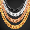 U7 Necklace Long/Choker Wholesale 6MM Vintage Punk Black Gun/Gold Plated Chain For Women/Men Jewelry N308