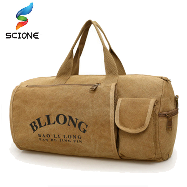4038c356da93 Outdoor Canvas Sports Single Shoulder Travel Bag Waterproof Luggage  Men Women Yoga Handbag Cylinder package Gym Bags