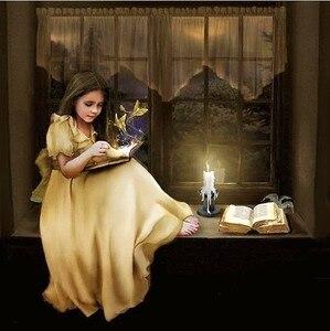 Image 1 - Lesen sie die Buch Mädchen Menschen Kind Hand, Für Stickerei, DIY 14CT Unbedruckte Kreuz stich kits Kreuz Stitching decor handwerk