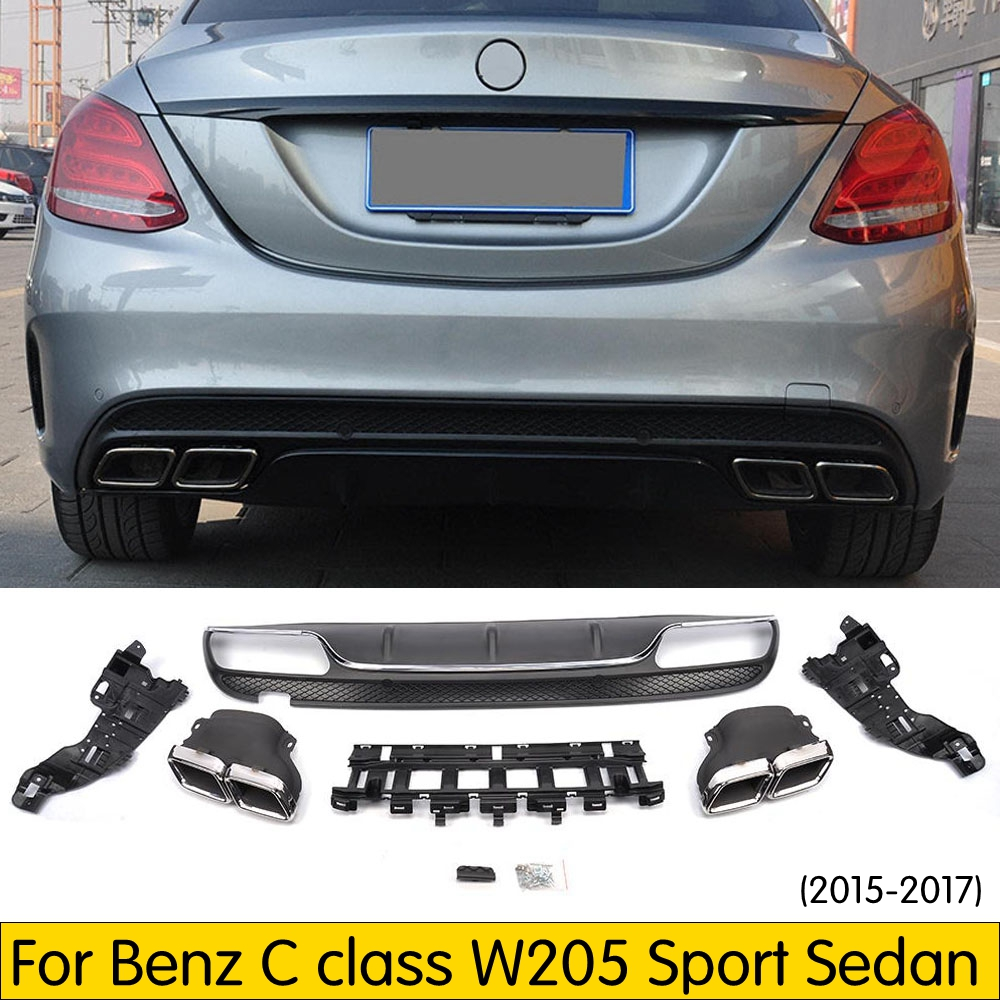 PP Stainless Steel Rear Bumper Lip Diffuser With Exhaust Tip For Benz W205 Sedan Sport Bumper 2015-2018