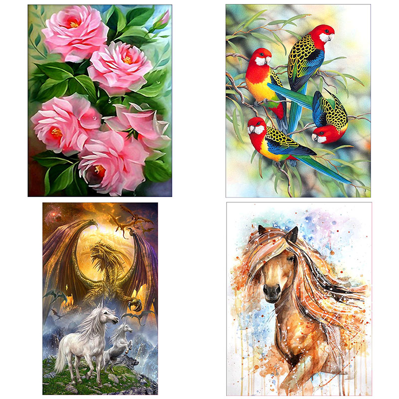 5D Round Diamond Painting Horse Flowers Embroidery DIY Needlework Art Craft Cross Stitch Set Home Room Decor Gifts