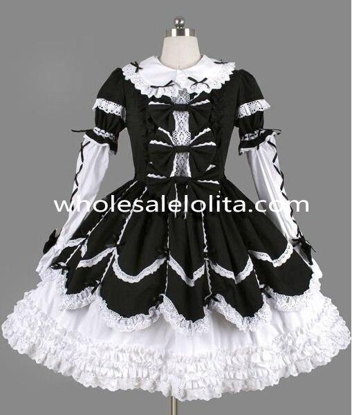 Mystérieux noir et blanc arc gothique Lolita robe Costume Lolita canal robe de bal 4XL à vendre robes de fête du thé
