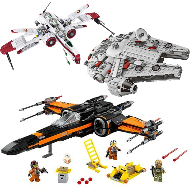 Star Wars Bricks Millennium Falcon Poe's X Wing Fighter Building Blocks Toys for Children Compatible with Legoe Star Figures
