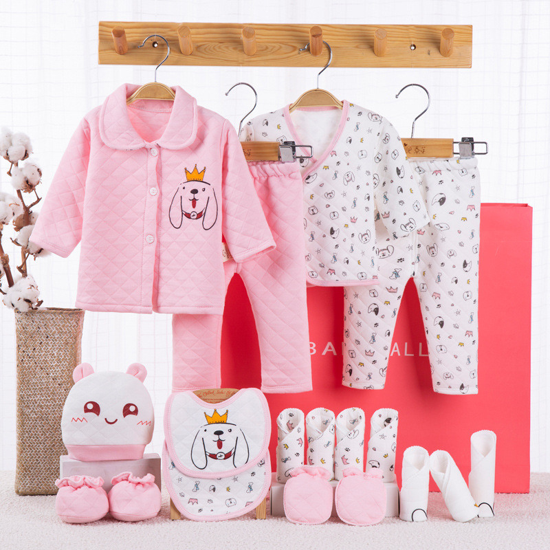 newborn baby girls clothes Thick cotton 0-3months infants baby girl boys clothing set baby gift set without box 18PCS/set