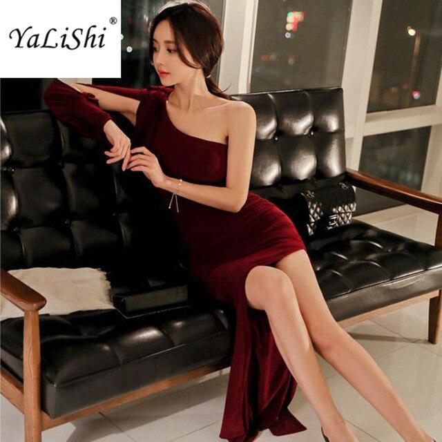 d5d40e0a0 2018 nowa wiosna długie sukienki na imprezę wino czerwone latarnia rękaw  ramię bandaż kobiety sukienka w