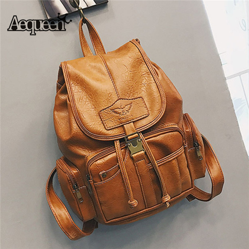 AEQUEEN Women Vintage Backpack Female PU Leather School Bags For Teenage Girl Backpacks College Student Retro Travel Bag Mochila цена