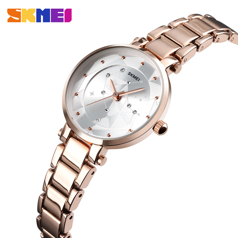 SKMEI Women Watches Luxury Bands Alloy Strap Ladies Watch 3Bar Waterproof Fashion Quartz Wristwatches Relogio Feminino 1411