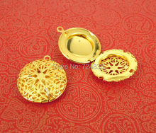 20x5mm Golden tone Plated Hollow Round Filigree Essential Oil Aromatherapy Diffuser Photo Locket Pendant Bulk Wholesale(China)