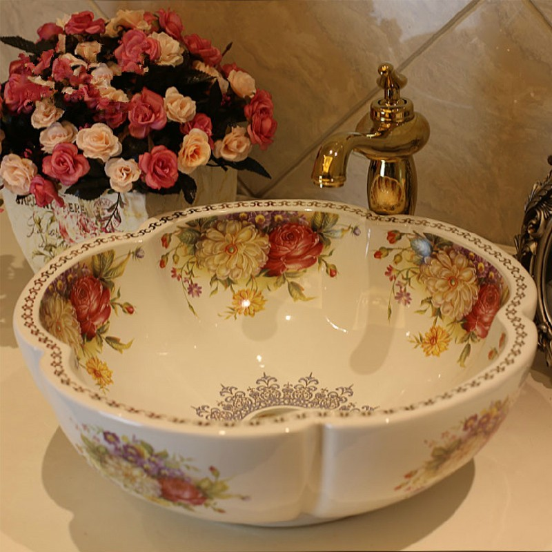 Free Shipping Rose Flower Ceramic Counter Top Wash Basin Bathroom Sinks