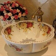 Цветок розы керамическая Столешница мытья раковины-чаши для ванной комнаты
