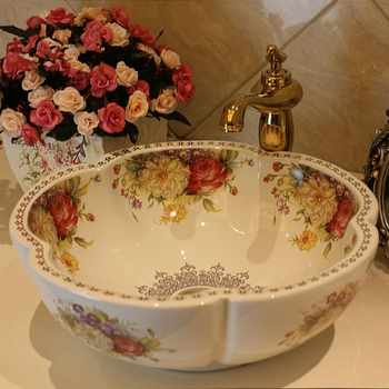 Free Shipping Rose Flower Ceramic Counter Top Wash Basin Bathroom Sinks - DISCOUNT ITEM  0 OFF All Category