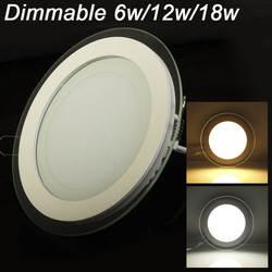 Затемняемый Светодиодный круглая Светодиодная панель стеклянный светильник 6 Вт 9 Вт 12 Вт 18 Вт потолочные встраиваемые светильники SMD 5630