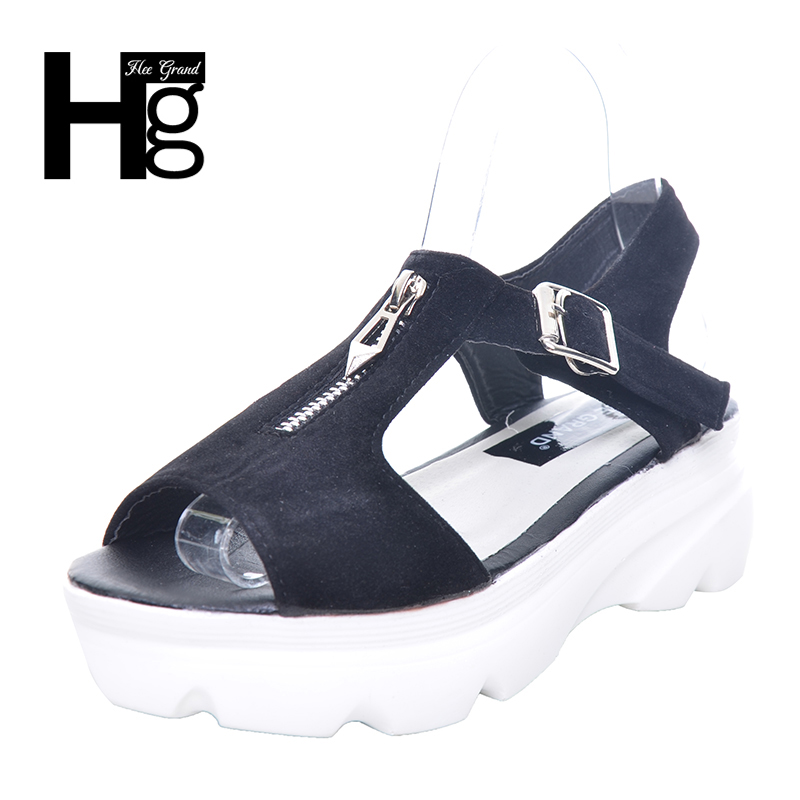 HEE GRAND Women Sandals Flock Buckle Platform Wedges Casual Summer Style Sandals Front Zip Woman Shoes XWZ4293 xiaying smile summer new woman sandals platform women pumps buckle strap high square heel fashion casual flock lady women shoes