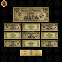 1899 Year's Colorful Gold Banknote USD 2 Gold Plated Replica Money 10Pcs Set Gold Foil Banknote Worth Collection
