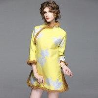 2017 Autumn Winter Vintage Jacquard Dress Women High Quality Elegant Chinese Style Stand Collar Female Split