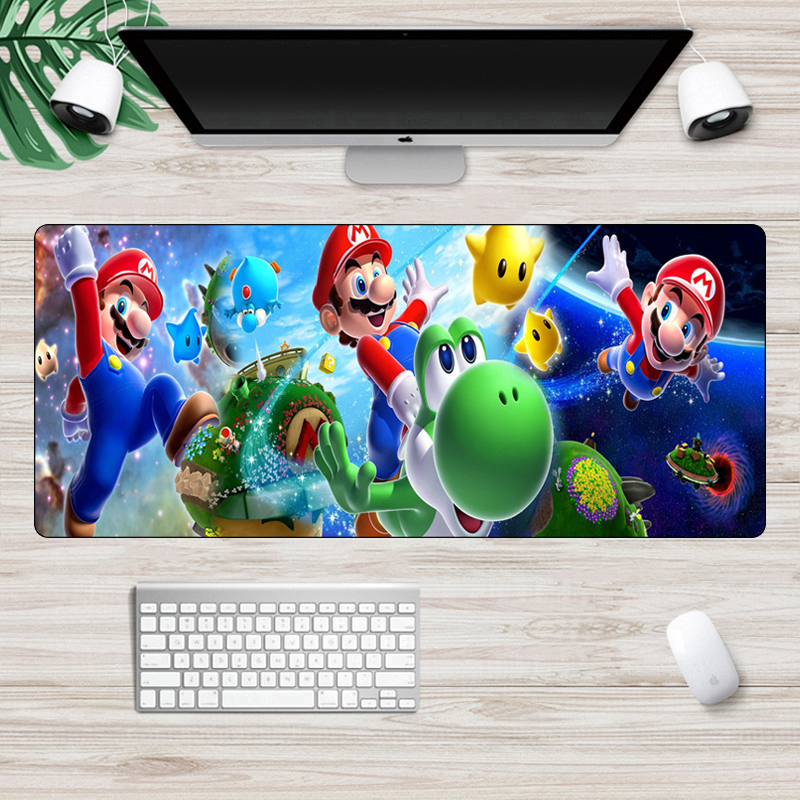 Super Mario Mouse Pad Computer Large 70x30cm Rubber Gaming Mousepad Locking Edge Non-Skid Keyboard Pad XXL Laptop Desk Mat