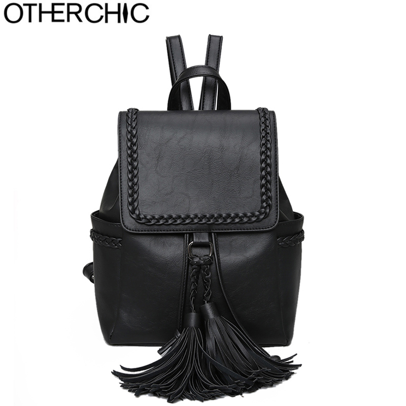 OTHERCHIC Stylish Vintage Women Tassel Backpack High Quality Women Leather Backpack Fashion Travel Backbag Sac A