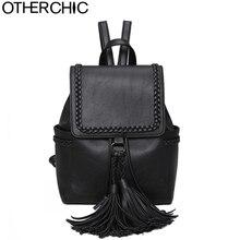 Otherchic стильные винтажные женские кисточкой рюкзак высокое качество Женщины Кожа Рюкзак Мода backbag SAC DOS L-7N08-14