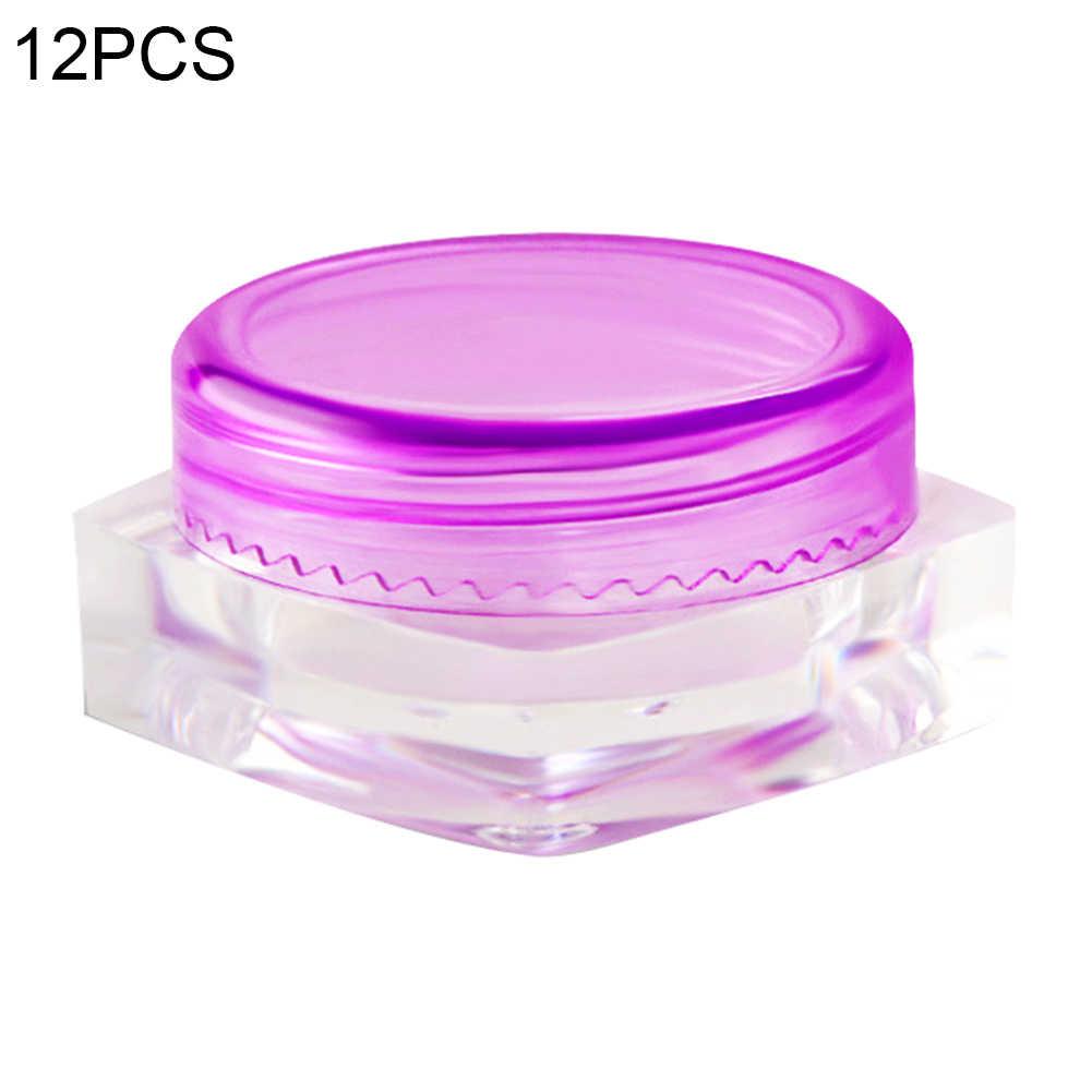 12Pcs 3G Kosong Plastik Wadah Sampel Toples untuk Bubuk Manik Makeup Krim Kosmetik Wadah Lotion Krim Wajah botol