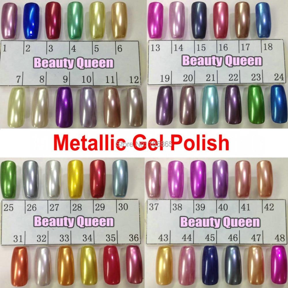 Metallic Gel Nail Polish: 48 Colors Metallic Mirror Nail Gel Polish Soak Off UV LED
