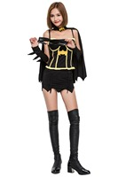 Halloween Batman Costume Adult Women Superhero Dress With Cloak for Scary Party Female Suit