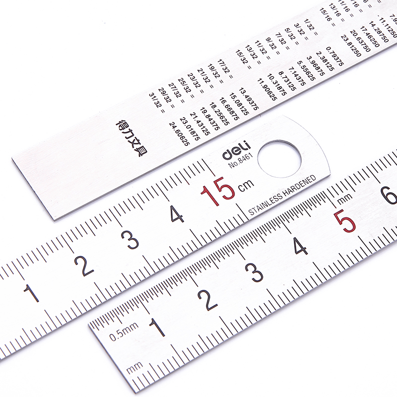 10 Pcs Stainless Steel 15cm Straight Ruler For School And Office Metal Thickness 0.1mm Deli 8461