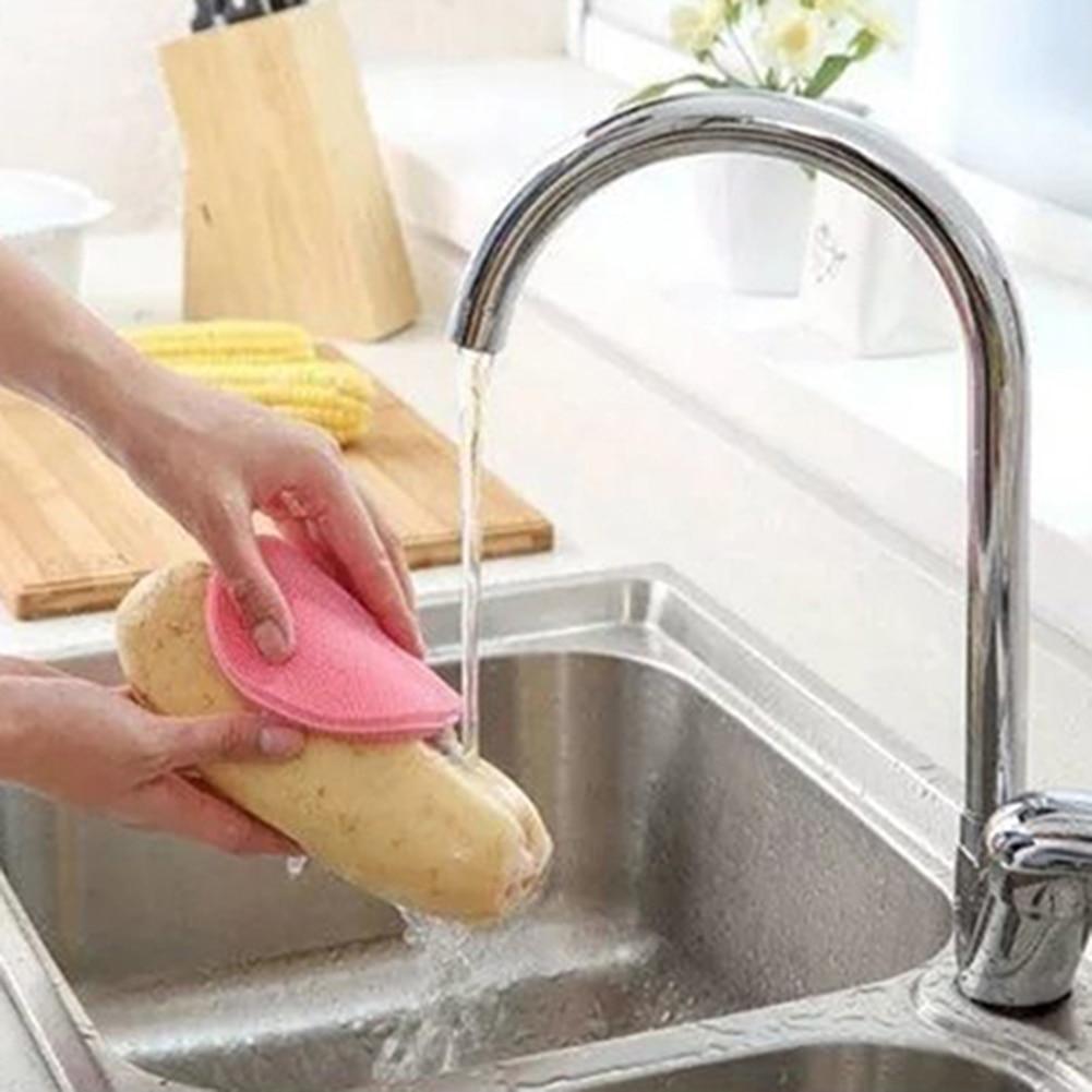 Round Silicone Dish Washing Sponge Cleaning Scrubber Brush Pad ...