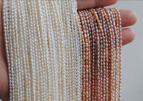 NEW Top Real pearl Small Rice Bead 2-3mm Natural pearl 35cm Strand White Loose Beads