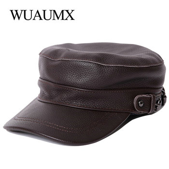 wuaumx genuine cow leather military hats for men fall winter men s cowskin hat with ear flap real cowhide flat top baseball caps Wuaumx Brand Genuine Leather Military Hats For Men Women Flat Top Newsboy Cowskin Hat Winter Men's Cow Leather Baseball Caps