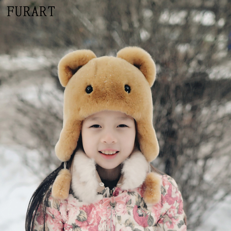 New Russia fur hat Winter Boy Girl Real Rex Rabbit Fur Hat Children Earmuff warm kids Fur Hat women Ear Bunny Fur Hat Cap new autumn winter warm children fur hat women parent child real raccoon hat with two tails mongolia fur hat cute round hat cap