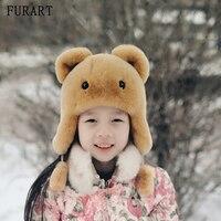 New Russia fur hat Winter Boy Girl Real Rex Rabbit Fur Hat Children Earmuff warm kids Fur Hat women Ear Bunny Fur Hat Cap