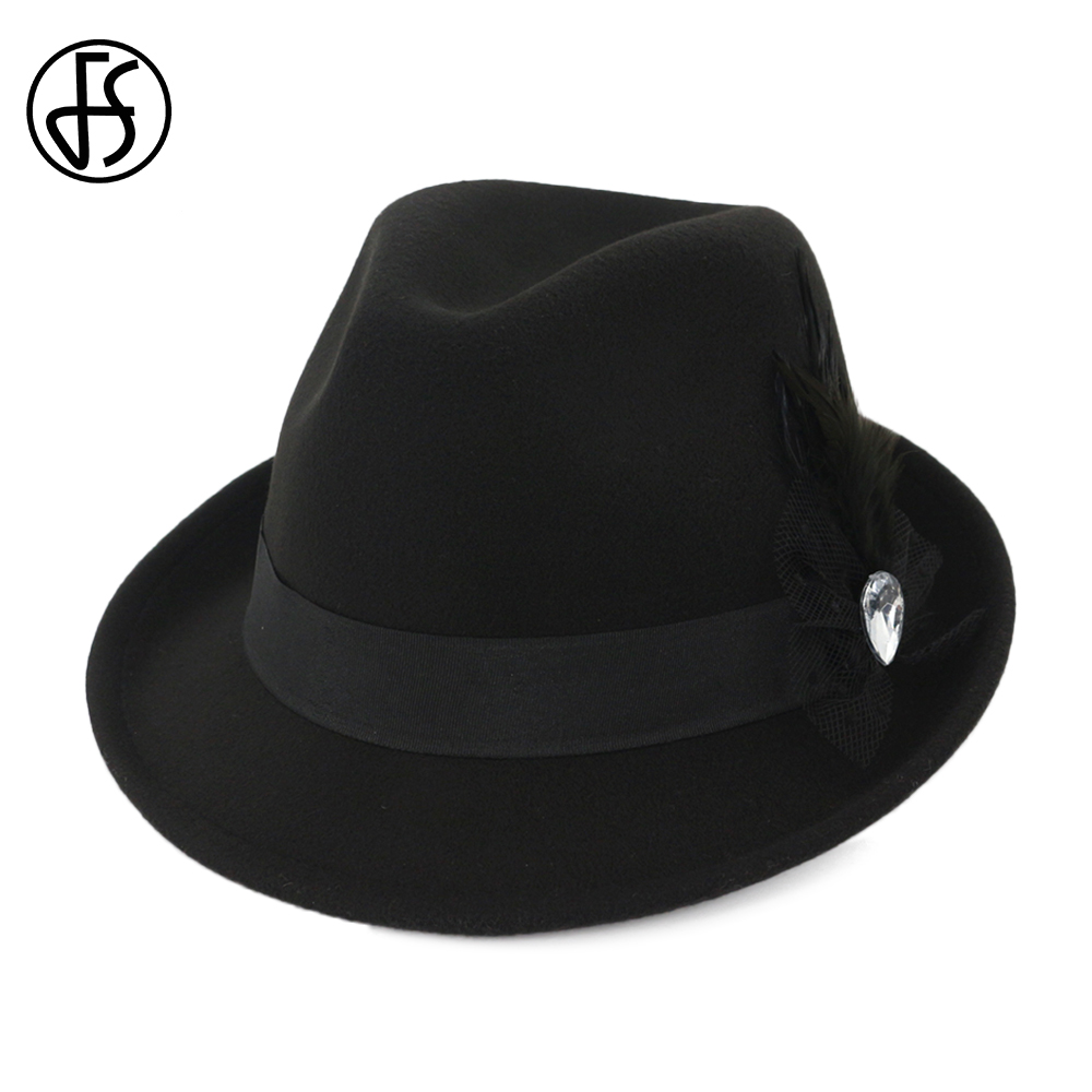 FS 2019 Spring Red Felt Fedora For Men Cotton Vintage Wide Brim Top Church Dress  Hats Women Elegant With Feather Ladies Hat-in Fedoras from Apparel ... 536175ab0c5