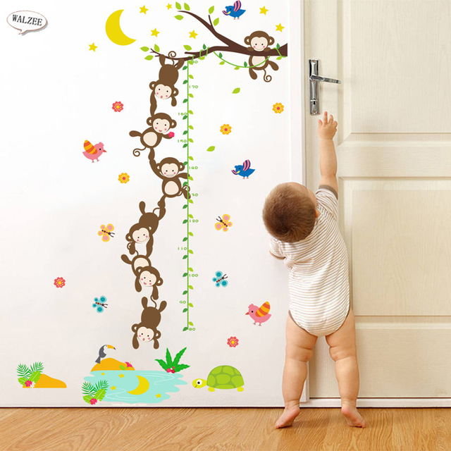 Cartoon Monkey Fishing Month Trees Height Measure Wall Sticker