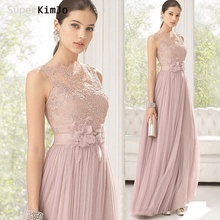SuperKimJo Lace Bridesmaid Dresses 2019 Long Pink Tulle Cheap Wedding Party Vestido De Madrinha