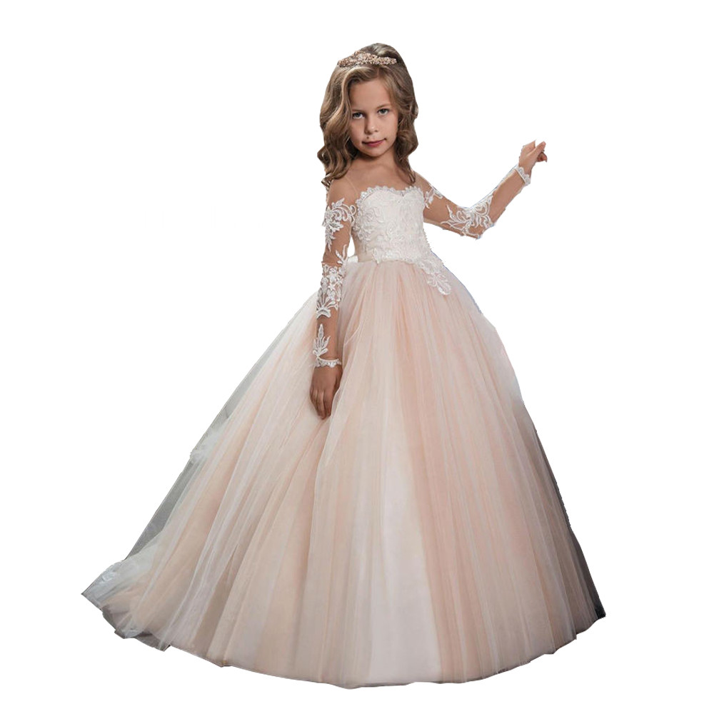 Champagne Puffy Lace Flower Girl Dress for Weddings Long Sleeves Ball Gown Girl Party Communion Pageant Gown Vestidos stylish short sleeve letter print t shirt drawstring denim shorts twinset for boys