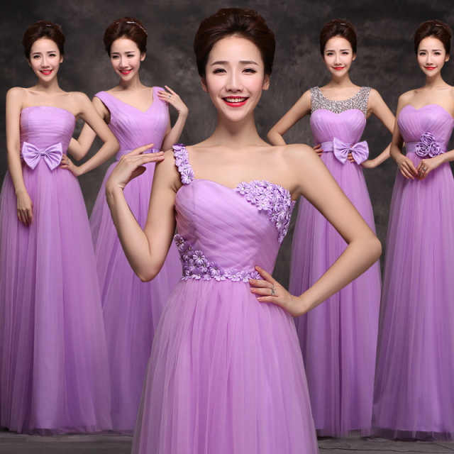 New Bridesmaid Dress Wedding Strapless Light Purple Lavender Prom A